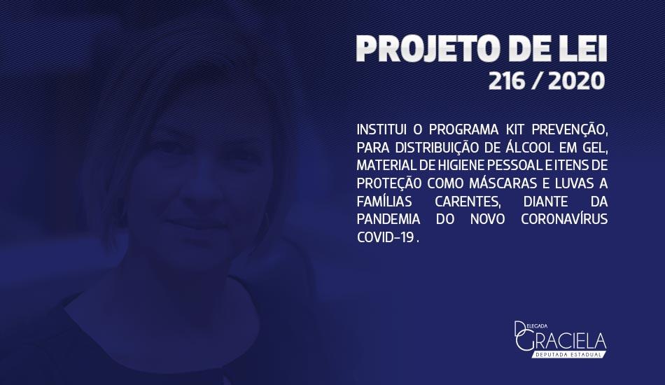 INSTITUI O PROGRAMA KIT PREVENÇÃO, PARA DISTRIBUIÇÃO DE ÁLCOOL EM GEL, MATERIAL DE HIGIENE PESSOAL E ITENS DE PROTEÇÃO COMO MÁSCARAS E LUVAS A FAMÍLIAS CARENTES, DIANTE DA PANDEMIA DO NOVO CORONAVÍRUS COVID-19.