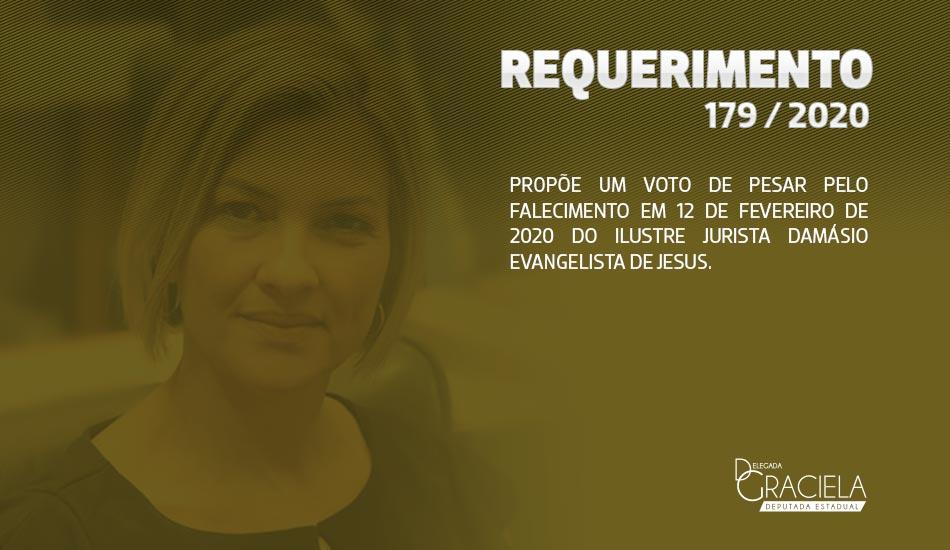 PROPÕE UM VOTO DE PESAR PELO FALECIMENTO EM 12 DE FEVEREIRO DE 2020 DO ILUSTRE JURISTA DAMÁSIO EVANGELISTA DE JESUS